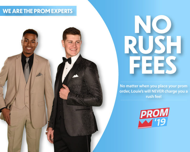 No Rush Fees on late Prom Tuxedo or Suit Rental orders