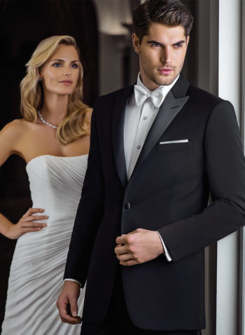 Indiana Black Wedding Tuxedo Suit Peak Lapel