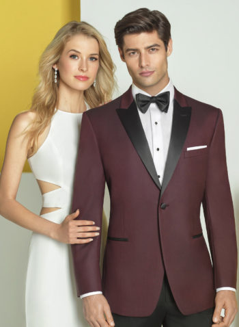 Indiana Burgundy Wedding Tuxedo Suit Prom Black Tie