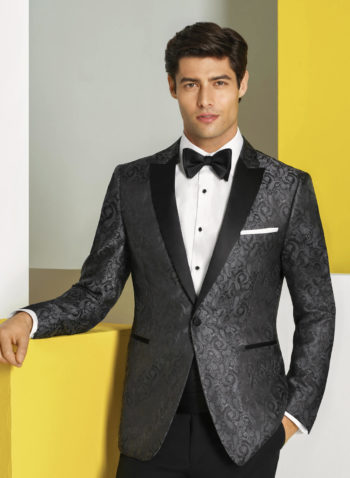 Indiana Charcoal Grey Paisly Wedding prom tuxedo suit