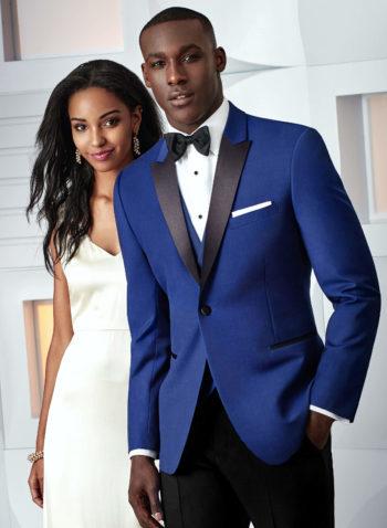 Indiana Cobalt Blue Wedding suit Tuxedo prom black tie