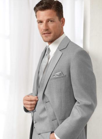 Indiana Light Grey Wedding Tuxedo Suit Black Tie