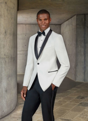 Indiana white wedding tuxedo suit black tie